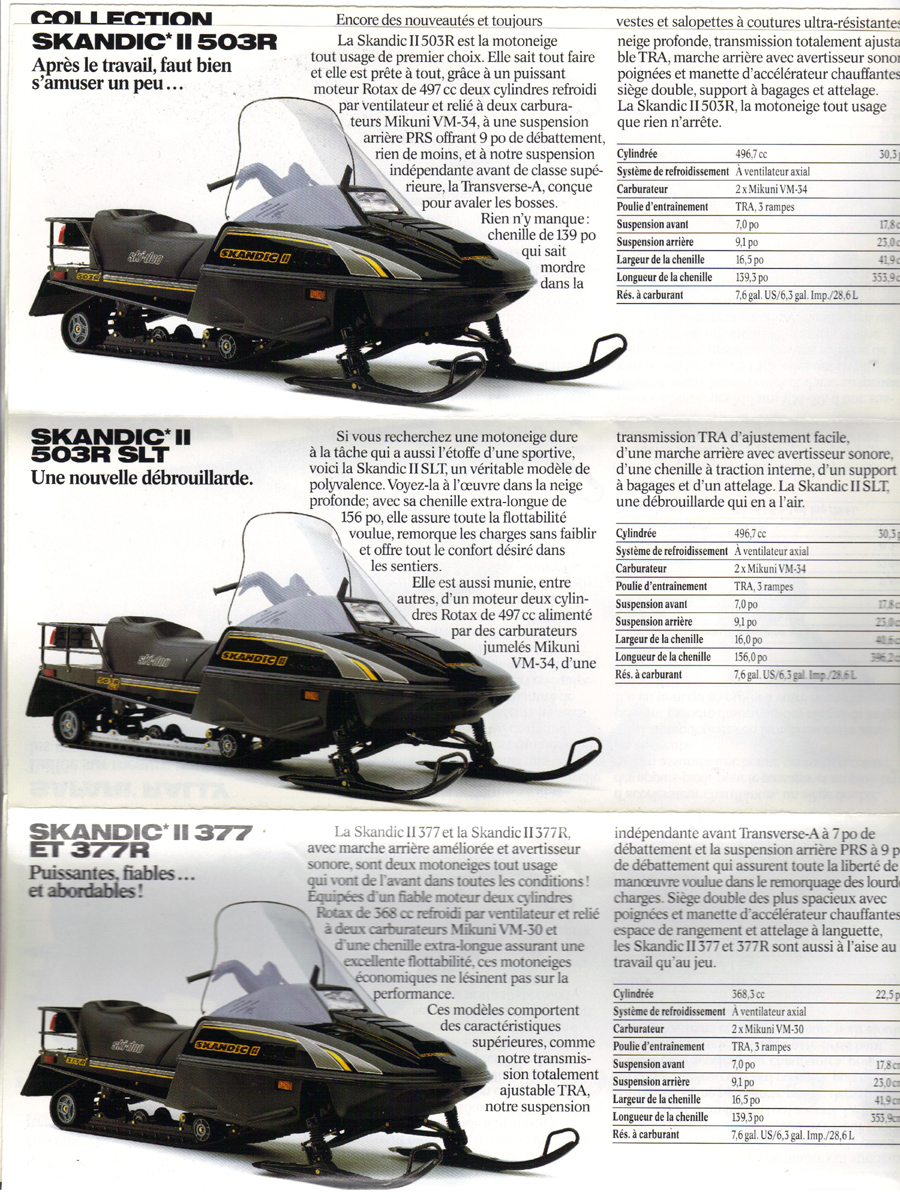 DAVID'S VINTAGE SNOWMOBILE PAGE. RESTORING THE SPORT ONE PIECE AT A TIME.  1993 SKI DOO SNOWMOBILE BROCHURE - PAGE 2